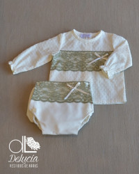 Diaper cover and blouse Kale